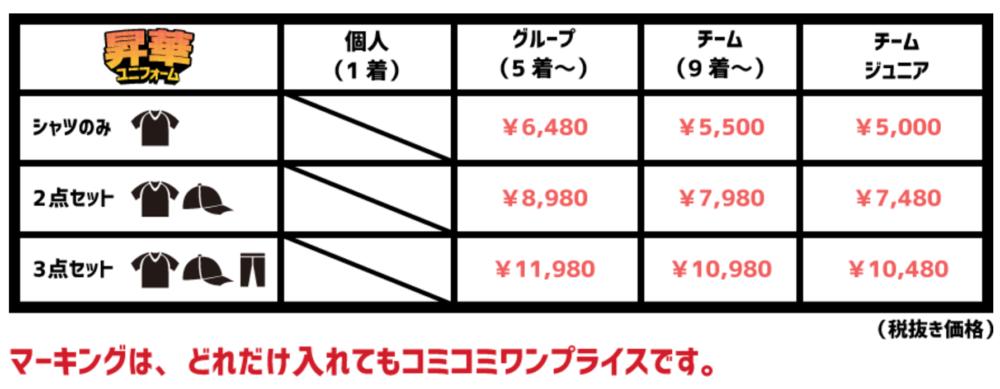 野球ユニフォーム オーダー製作の「ファンゴ」昇華タイプ価格表